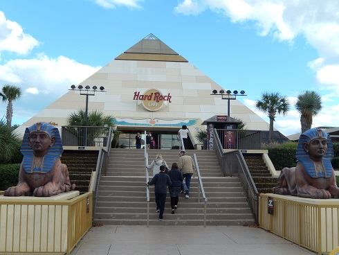 Climb the stairs to reach the hostess and gift shop inside the Hard Rock Cafe