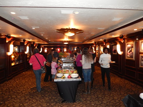 Thankgiving Day buffet area inside the Hard Rock Cafe.