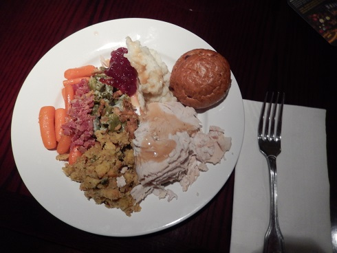 Thanksgiving dinner is served, with plenty of left overs for seconds before desert.