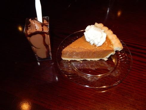 Pumpkin pie or chocolate mousse was available for desert, we tried them both. Yum!