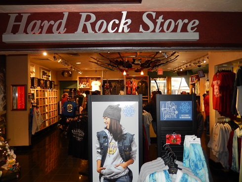 The Hard Rock Store, nice selection of gift items with Hard Rock Cafe logos.