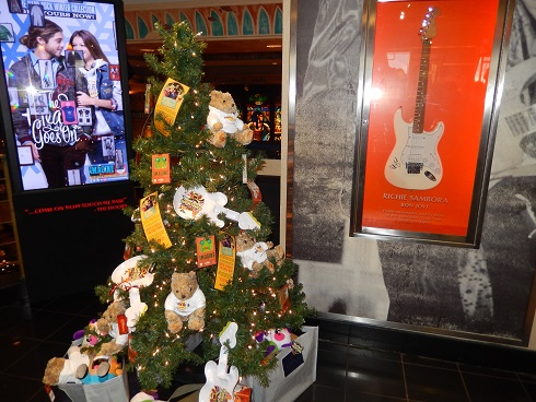 The Christmas tree inside the Hard Rock Store was decorate before Thanksgiving.