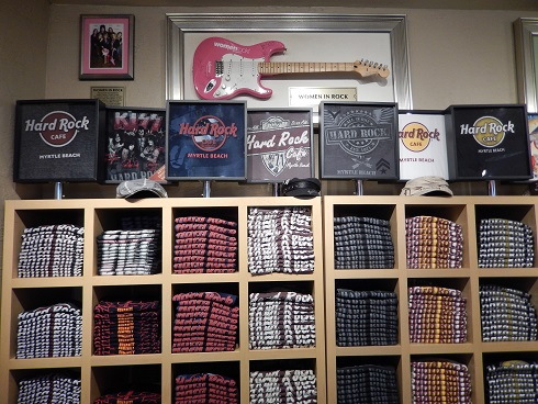Some of the many Hard Rock Cafe brand gift items sold in the Hard Rock Store.