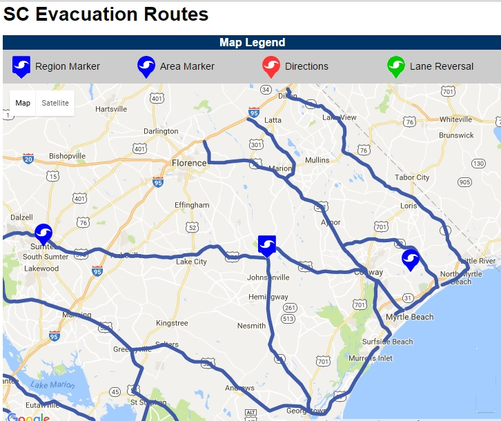 Myrtle Beach Evacuation Route Map