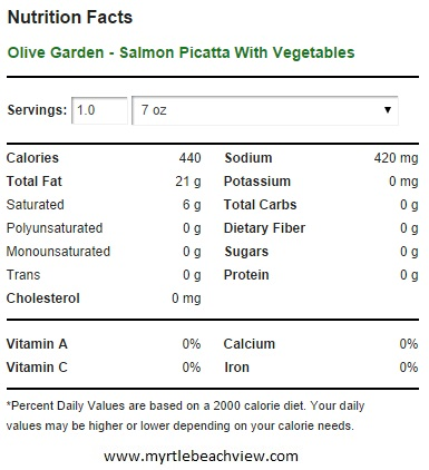 Eat Healthy At The Olive Garden - Salmon Picatta With Vegetables Calories