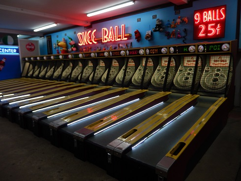 Popular game is one of the Skee Ball Games give 9 balls for 25 cents