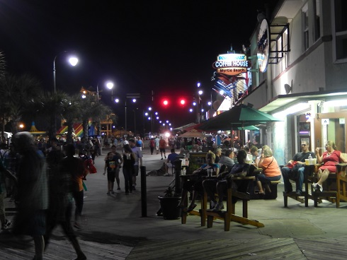 Myrtle Beach Octoberfest on the Boardwalk<br>Boardwalk activity as night approaches Octoberfest
