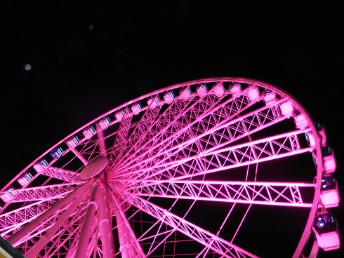 Each year the SkyWheel goes pink for cancer awareness