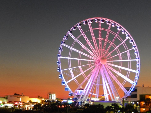 Night view of the SkyWheel from Pier 14 is impressive