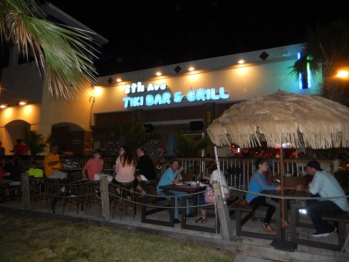 The 8th Avenue Tiki Bar and Grill, Boardwalk seating area faces the ocean.